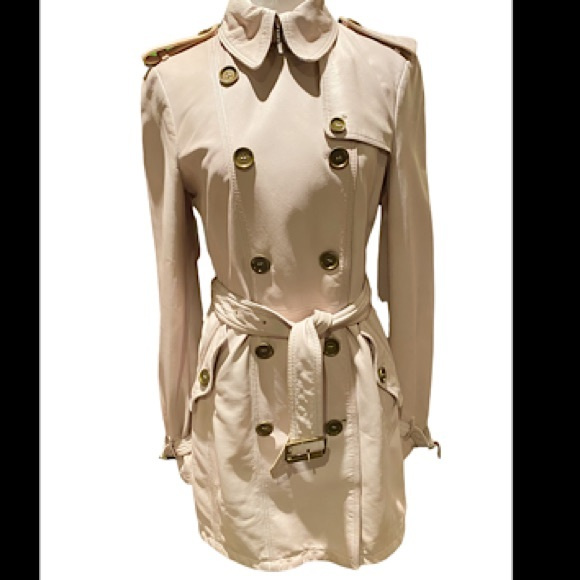 Burberry Lambskin Leather Trench Coat SZ US 8